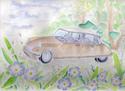 Aquarelle.  Pour la voiture, il s'agit d'une citroen DS et les fleurs bleues/violettes sont des myosotis. Un petit cadeau pour mon copain fan de vieilles voitures.  Merci aux livestreameuses de m'avoir suivie ce soir =D